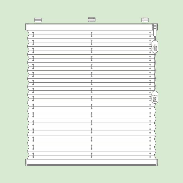 Свободновисящая система штор плиссе для вертикальных окон ибалконных дверей прямоугольной формы   шириной от15см.до230см.*, высотой от30см.до260см. *Зависит отширины ткани