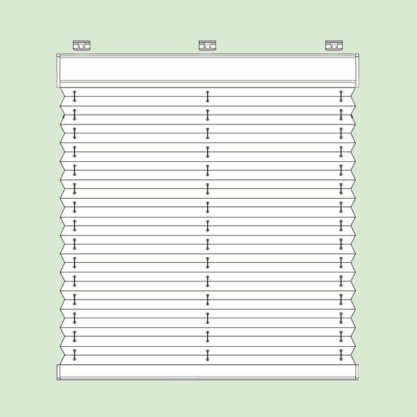 Свободновисящая система штор плиссе для вертикальных окон ибалконных дверей прямоугольной формы шириной от60см.до230см.*, высотой от30см.до260см.   * Зависит отширины ткани