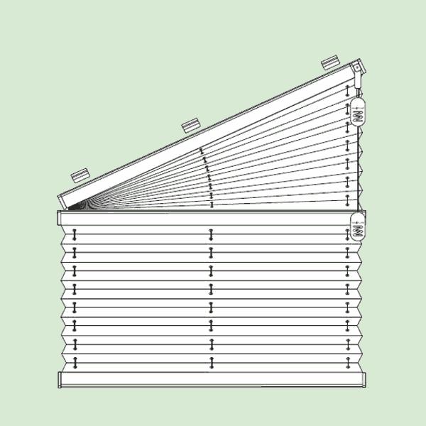 Свободновисящая система штор плиссе для вертикальных окон ибалконных дверей сложных форм   шириной от30см.до80см., высотой от30см.до260см., максимальная ширина наклонной части 100см.