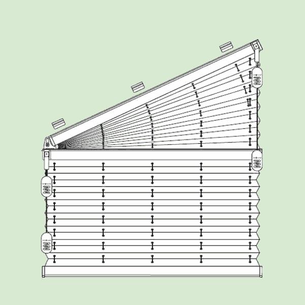 Свободновисящая система штор плиссе для вертикальных окон ибалконных дверей сложных форм шириной от30см.до220см.**, высотой от30см.до260см., максимальная ширина наклонной части 230см.*   * зависит отширины ткани, ** зависит отугла наклона