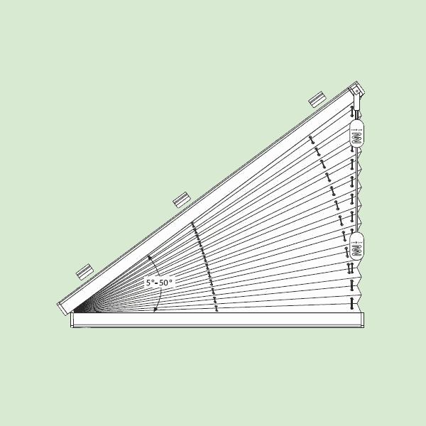 Свободновисящая система штор плиссе для вертикальных окон ибалконных дверей сложных форм   шириной от30см.до220см., высотой от30см.до160см., максимальная ширина наклонной части 230см.изависит отширины ткани