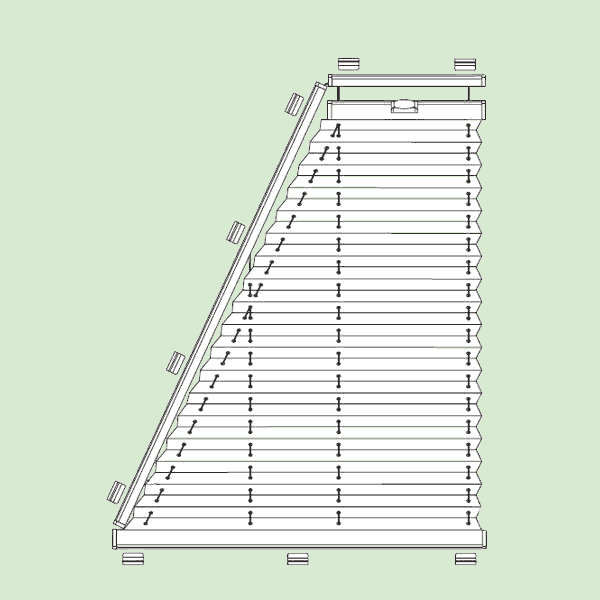 Система штор плиссе для стеклянных крыш изимних садов наклонного игоризонтального типа   сложных форм шириной от30см.до150см., высотой от30см.до200см.