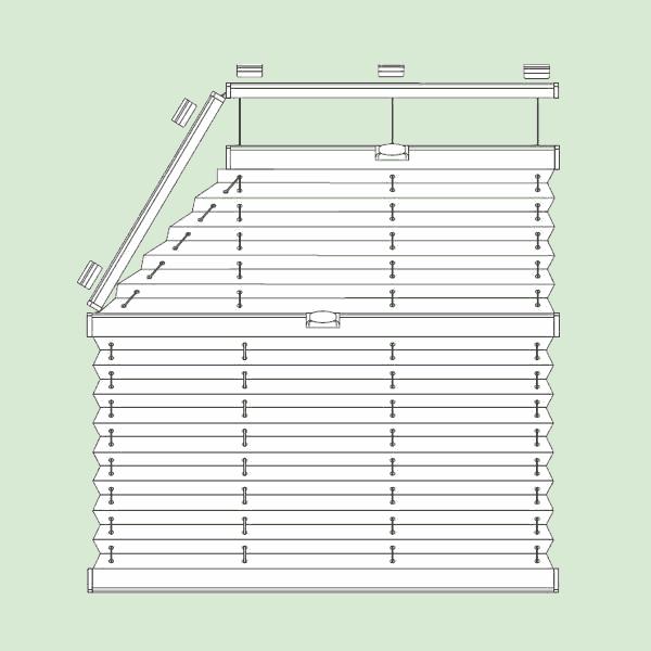 Система штор плиссе для стеклянных крыш изимних садов наклонного игоризонтального типа сложных форм   шириной от30см., высотой от30см.до400см., максимальная высота 200см., максимальная ширина угла 150см.