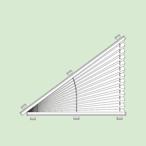 Неподвижная (статичная) система штор плиссе для вертикальных треугольных окон   шириной от20см.до160см., высотой от20см.до160см.Ширина всегда равна высоте