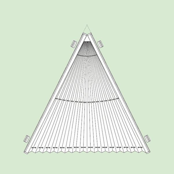 Неподвижная (статичная) система штор плиссе для вертикальных треугольных окон шириной от20см.до200см., высотой от20см.до200см.Ширина всегда равна высоте. Максимальная ширина наклонной части 230см.изависит отширины ткани