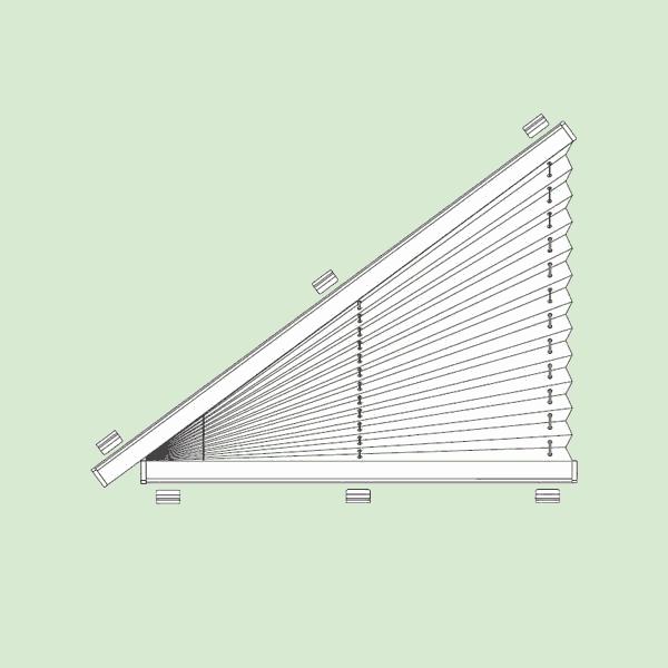 Неподвижная (статичная) система штор плиссе для треугольных окон наклонного игоризонтального типа   шириной от20см.до160см.*, высотой от20см.до160см.*. Ширина всегда равна высоте. * Зависит отширины ткани