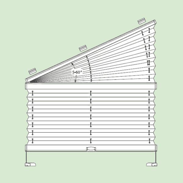 Натяжная система штор плиссе для поворотных окон ибалконных дверей сложных форм   шириной от30см.до150см., высотой от30см.до220см., максимальная ширина наклонной части 230см.