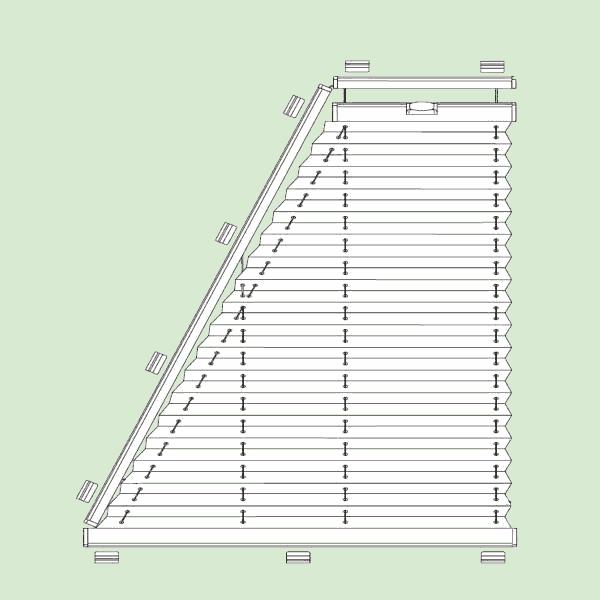 Натяжная система штор плиссе для поворотных окон ибалконных дверей сложных форм   шириной от30см.до150см., высотой от30см.до200см., максимальная ширина основания 150см.